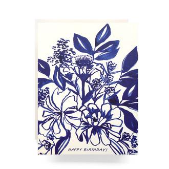 Indigo Bouquet Birthday Greeting Card