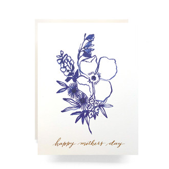 Indigo Bouquet Mother's Day Greeting Card