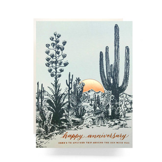 Cactus Sunset Anniversary Greeting Card