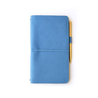Vegan Leather Journal with Gold Pen,  Cornflower Blue
