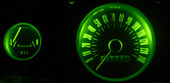 MP-66-LED-GA-GREEN - NEW from Mustang Project LED lamps for your gauges. Finally see your gauges at night with cool running lifetime LEDs 3-4X brighter than the old incandescent lamps! For the 65-66 Mustangs with 5 gauge cluster.