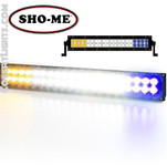 SHO-ME LED EMERGENCY SCENE LIGHT White Center w/ AMBER & Blue Flashing ends