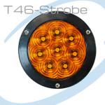 "T46-AAZFP-1 Hi Vis 4"" Round STROBE Amber Amber FLANGE Pigtail"