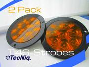 "2 pack T46-AAZFP-1 Hi Vis 4"" Round STROBE Amber Amber FLANGE Pigtail"