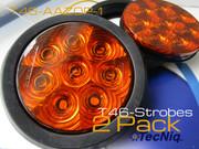 """T46-AAZ0P-1 2 Pack Hi Vis 4"""" Round STROBE Amber Grommet Pigtail"""