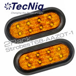 """T68-AAZ0T-1  2PK STROBE 6"""" Oval High Vis AMBER TRIPOLE with grommets"""