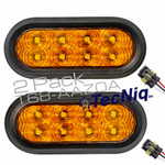 "T68-AAZ0A-1  2PK STROBE 6"" Oval High Vis AMBER  Amp with grommets"