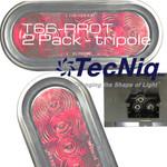 """T66-RR0T-1  2 Pack TecNiq STT 6"""" Oval Red Grommet Mount Tripole"""