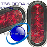 """T66-RR0A-1  2 Pack TecNiq STT 6"""" Oval Red Grommet Mount  AMP Connect"""