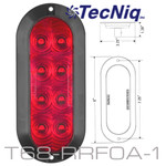 "T68-RRF0A-1  STT 6"" Oval High Vis  RED Flange mount Amp Connect  10Pack"
