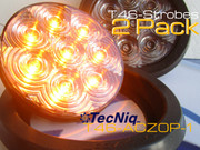 "T46-ACZ0P-1 2 Pack Hi Vis 4"" Round STROBE Amber Clear Grommet Pigtail"