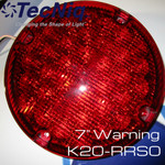 "TecNiq 7"" Round RED WARNING High Intensity School Bus New K20-RRS0-1"