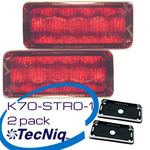 2 Pack TecNiq K70-STRO-1 RED Stop Turn Tail with Chrome kits