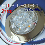 "2pk E06-LS0R-2  Interior Dome Light 4"" Round TecNiq Red/White"