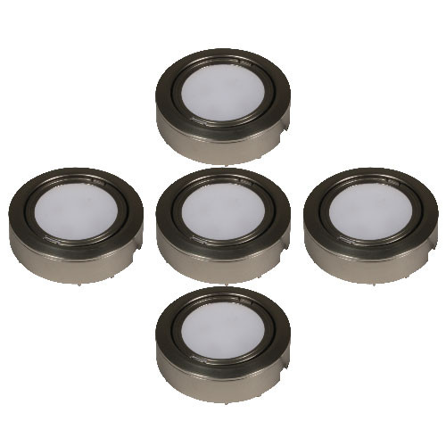 Plastic Led 5 Puck Light Kit W Inline Dimmer Lvp 5p By