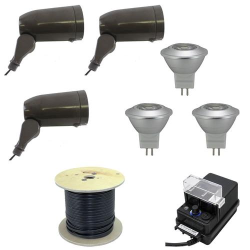 12v 3 integrated led aluminum spotlight landscape lighting kit led 3kit 120 by aqlighting. Black Bedroom Furniture Sets. Home Design Ideas