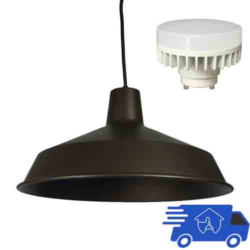 Warehouse Pendant Light Fixtures: 120V LED Indoor Metal Barn Shade Ceiling Pendant