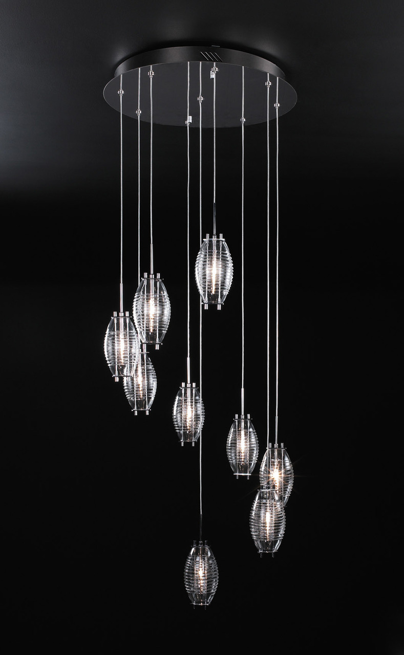 120v 9 Light Designer Polished Chrome Hanging Chandelier