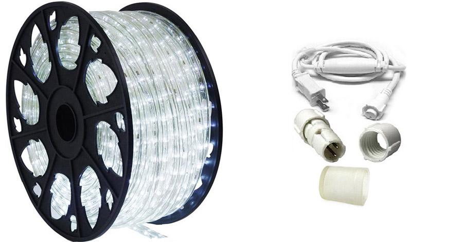 120v cool white led rope light 150 39 kit ledropekits cw by aql. Black Bedroom Furniture Sets. Home Design Ideas