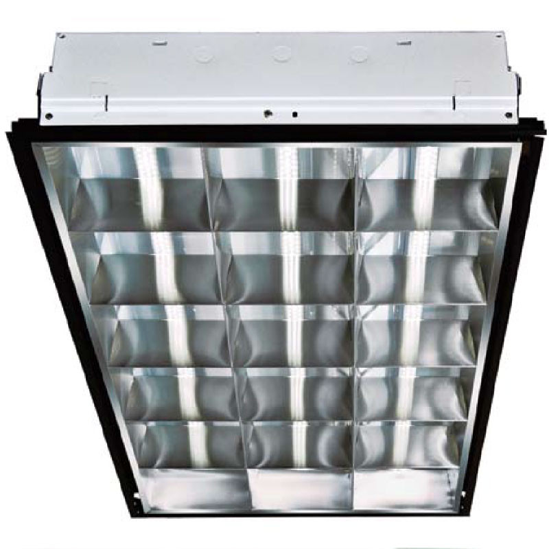 Commercial Ceiling Light Fixtures: 120V 2' X 4' 3 Lamp LED Lay In Ceiling Light Fixture (DC