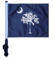 "SSP Flags STATE of SOUTH CAROLINA / PALMETTO 11""x15"" Flag with Pole and EZ On Extended Straps Bracket"