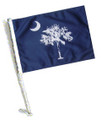 STATE of SOUTH CAROLINA / PALMETTO Car Flag with Pole