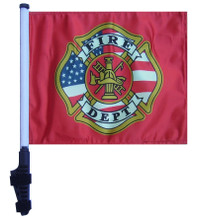 "SSP Flags FIRE DEPARTMENT 11""x15"" Flag with Pole and EZ On Extended Straps Bracket"