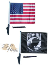 SSP Flags Set - AMERICAN, UNITED STATES, USA & POW MIA SSP Motorcycle Flag with Sissybar or Trunk Style Pole