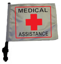 "SSP Flags MEDICAL ASSISTANCE 11""x15"" Flag with Pole and EZ On Extended Straps Bracket"