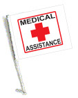 MEDICAL ASSISTANCE Car Flag with Pole