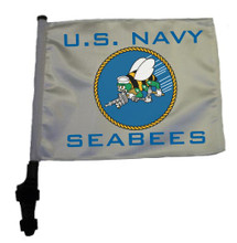 "SSP Flags US NAVY SEABEES 11""x15"" Flag with Pole and EZ On Extended Straps Bracket"