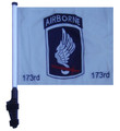 "SSP Flags 173rd AIRBORNE 11""x15"" Flag with Pole and EZ On Extended Straps Bracket"