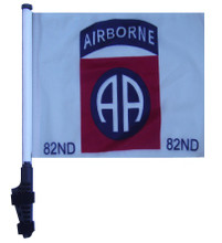 """SSP Flags 82nd AIRBORNE 11""""x15"""" Flag with Pole and EZ On Extended Straps Bracket"""