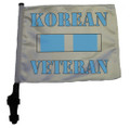 "SSP Flags KOREAN VETERAN RIBBON 11""x15"" Flag with Pole and EZ On Extended Straps Bracket"