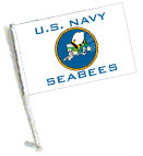 U.S. NAVY SEABEES Car Flag with Pole