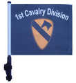 "SSP Flags 1st CAVALRY DIVISION 11""x15"" Flag with Pole and EZ On Extended Straps Bracket"
