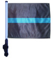 "SSP Flags THIN BLUE LINE 11""x15"" Flag with Pole and EZ On Extended Straps Bracket"