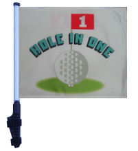 "SSP Flags HOLE IN ONE 11""x15"" Flag with Pole and EZ On Extended Straps Bracket"