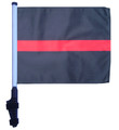 SSP Flags THIN RED LINE Golf Cart Flag with SSP Flags Bracket and Pole