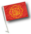 FIRE DEPT MALTESE CROSS DESIGN Car Flag with Pole