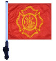 SSP Flags FIRE DEPT MALTESE CROSS DESIGN Golf Cart Flag Brackets with Pole