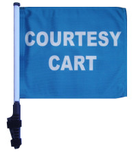 "SSP Flags Courtesy Cart 11""x15"" Flag with Pole and EZ On Extended Straps Bracket"