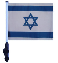 "SSP Flags ISRAEL 11""x15"" Flag with Pole and EZ On Extended Straps Bracket"