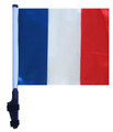 """SSP Flags France 11""""x15"""" Flag with Pole and EZ On Extended Straps Bracket"""