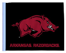 UNIVERSITY of ARKANSAS RAZORBACKS Flag with Black Background