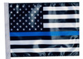 Thin Blue Line USA Black and White Flag - Approx. Size 11in.x15in.
