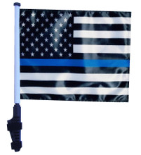 Thin Blue Line USA Black and White Flag - 11in.x15in.