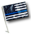 Thin Blue Line USA Black & White Flag - Approx. Size 11in.x15in.