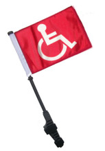 RED HANDICAP Small 6x9 Golf Cart Flag with SSP Flag EZ Pole SSP Flags
