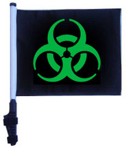 "SSP Flags BIOHAZARD GREEN 11""x15"" Flag with Pole and EZ On Extended Straps Bracket"